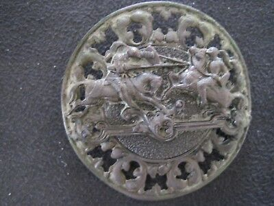 """Antique Large 2"""" Button Knights Jousting On Horses Nr"""