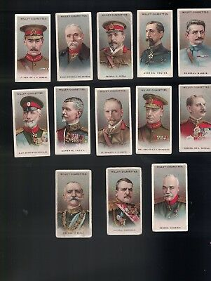 1917 Wills Allied Army Leadrs Cigarette Card Lot X 13 Different Cards