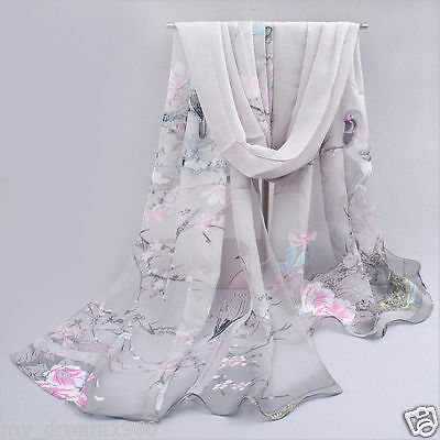 New Fashion Long Soft Silk Chiffon Neck Scarf Wrap Shawl Scarves Flowers & Bird