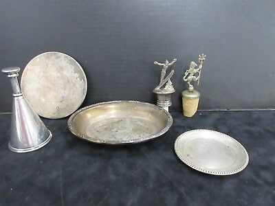 Silver-Plate Mixed Lot For Wine Birks Regency Dish + Wine Stoppers ++ Lot (6)
