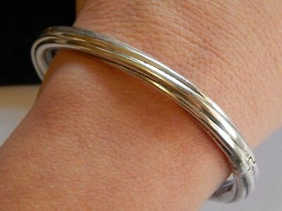 Vintage Antique Sterling Silver 925 Twist Bangle Bracelet with Safety Chain