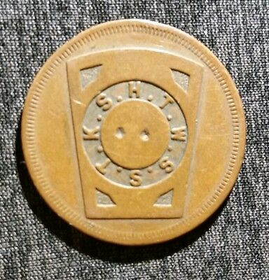 Old Us Masonic One Penny Token  H.t.w.s.s.t.k.s Ohio Rare 1 Penny Bronze