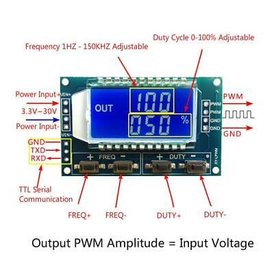 PWM Pulse Frequency Duty Cycle Adjustable Module LCD 3.3V-30V 1Hz-150Khz USST#