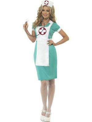 Ladies  Fancy Dress Costume Scrub  Nurse outfit with apron and headpiece