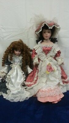 """2 Victorian Inspired Porcelain Dolls 21 1/2"""" x 10 3/4"""", 16 3/8"""" x 9 1/2"""" Good co"""