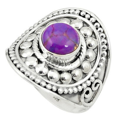 Purple Copper Turquoise 925 Sterling Silver Ring Jewelry Size 9 M42155