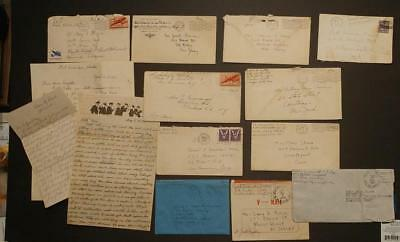 A2172----Lot of 14 WWII letters - various branches - camps - all diff servicemen