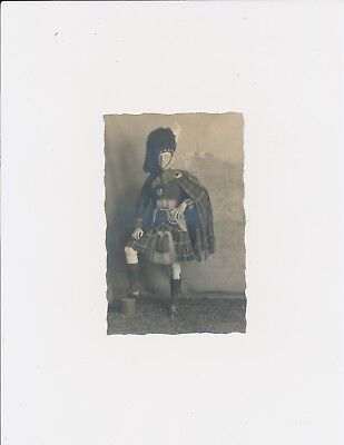 Vintage 1920 Scottish Man Kilt Fur Feather Head Garment Proud Look Castle Float