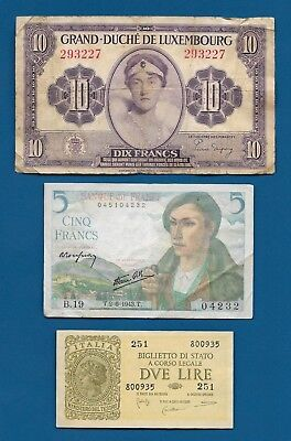 WW2 Luxembourg 10 Francs ND-1944 P-44, France 5 Fr 1943, Italy 2 Lire 1944 P-30b