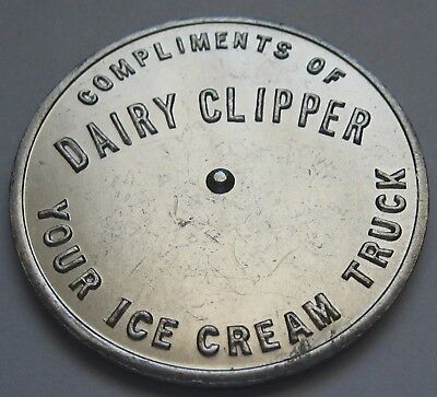 Dairy Clipper You Pay Spinner Your Ice Cream Truck Metal Token