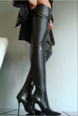 Womens Leather Over Knee High Thigh Boots Stiletto Clubwear Pointed Toe Sexy sz