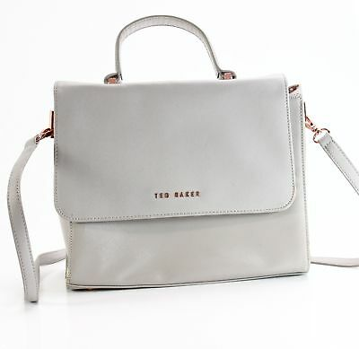 738be614b6a3 Ted Baker NEW Gray Rose Gold Large Satchel Leather Handbag Purse  195-  012