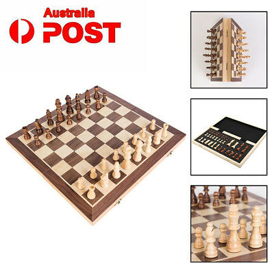 30/40cm Large Chess Wooden Set Folding Chessboard Magnetic Pieces Wood Board