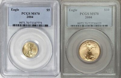 2004 $10 & $5 Gold Eagle Pcgs Ms70 2 Coin Set
