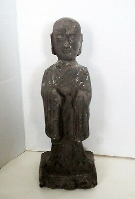 Ancient TOMB ATTENDANT STATUE - Chinese TANG DYNASTY -  POTTERY & SILVER GILT