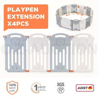 ABST 4 Pcs Baby Safety Playpen Panel Interactive Kids Play Room Extension Bear