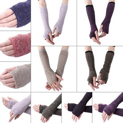 Womens Long Fingerless Gloves Arm Warmers Knit Thumbhole Stretchy Gloves UK