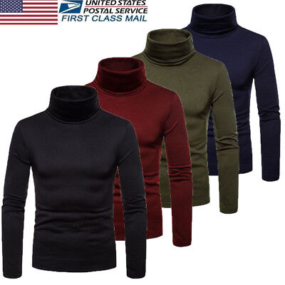 US Hot Mens Thermal Turtle Neck Skivvy Turtleneck Sweaters Stretch Shirt Tops