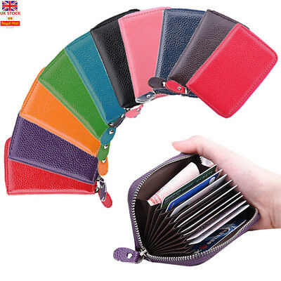 Fashion Leather Purse Credit ID Card Holder Pocket Wallet Zip Purse Coin Bag UK