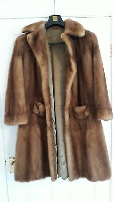 STUNNING 70's VINTAGE REAL MINK FUR SHORT GLAMOROUS LONG JACKET SIZE 16