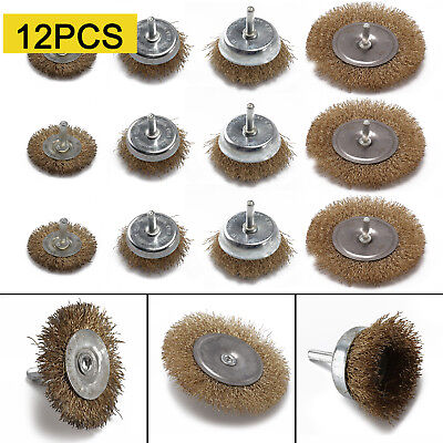 "12 Assorted drill wire wheels, wire brush attachments for drills 1/4"" shank."