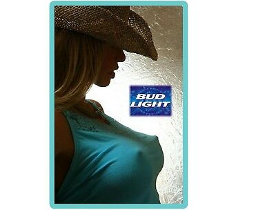 Budlight Beer Cowgirl In Blue Top Refrigerator / Tool Box Magnet