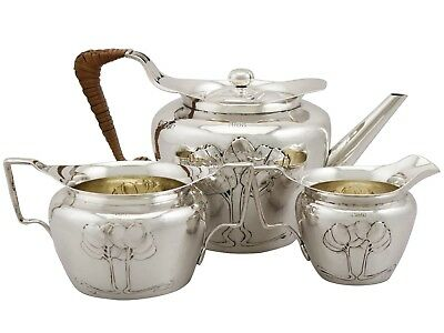 Antique Edwardian Art Nouveau Sterling Silver Three Piece Tea Service
