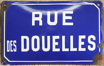 Old French enamel steel street sign road plaque name Rue Douelles wooden staves