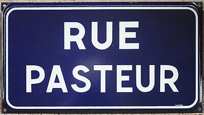 Old blue French enamel steel street sign road plaque name Alexis Pilon Chalesmes