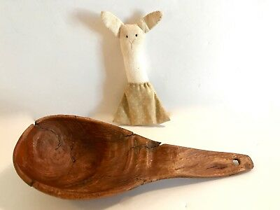 An Early, New England, 19th c., Small Burl-knot Wooden Spoon.