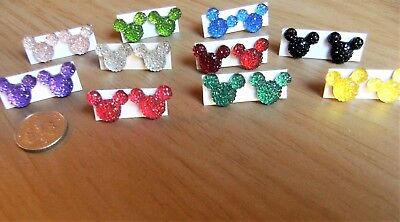 6 X Pairs Handmade Girls Earrings ~ Mickey Mouse ~ Random Colours Or Choose