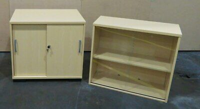 Set of 3 Storage Units Bookshelf Cupboard Lockable Glass Shelf Furniture Wood