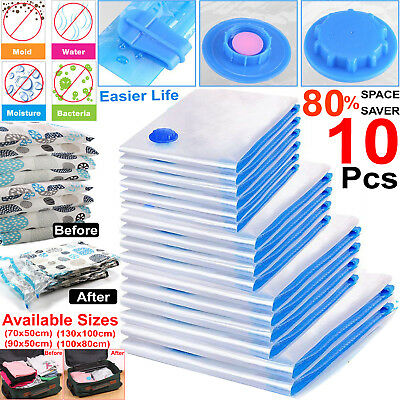 10x Strong Vacuum Bag For Clothes Storage VAC Compressed Saving Space Pack Saver