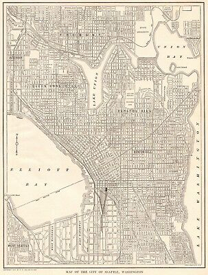 1917 Antique SEATTLE Map of Seattle Washington Black and White Gallery Wall 6112