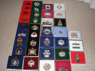 Complete Set / Lot (38) White House Historical Association Ornaments 1981 - 2018