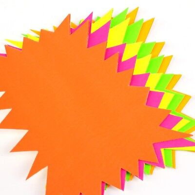 20x BRIGHT NEON FLASH STAR CARDS Reminder Pricing Fluorescent Display Label Shop