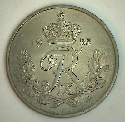 1953 Denmark 25 Ore Coin Danish Currency You Grade