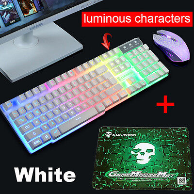 T6 Rainbow Backlight Ergonomic Gaming Keyboard and Mouse USB for PC Laptop Kit