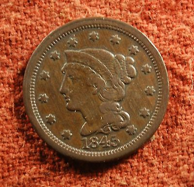 1845 US American Extra Fine Liberty Braided Head Large Cent