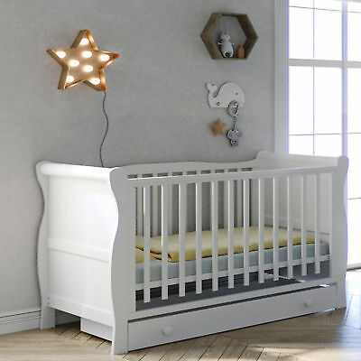 New Little Acorns White 3 Piece Sleigh Cot Bed Drawer & Deluxe Maxi Air Mattress