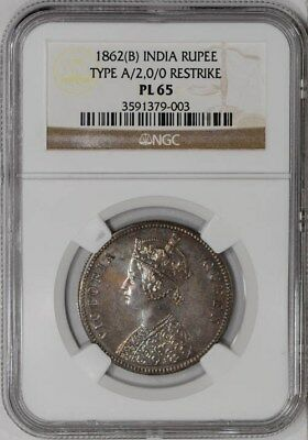 1862(B) Indian Rupee Type A/2.0/0 Restrike #934512-30 PL65 NGC