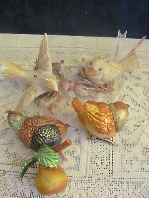 4 Bird Christmas Ornaments 2 In Nest 1 Clip On & A Partridge In A Pear Tree