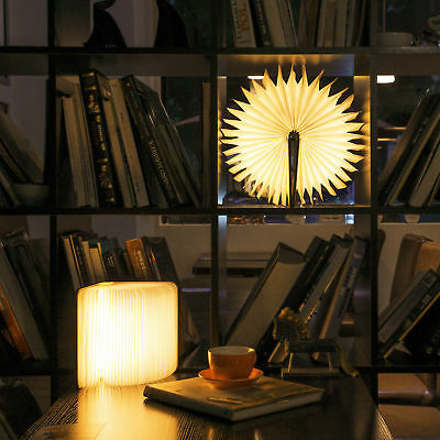 Warm Light Book Excelvan USB Rechargeable Magnetic Wooden Folding LED Lights