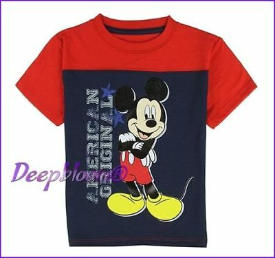Disney Top Tee Shirt Boys - Mickey Mouse - Sz 4T American Red Blue New
