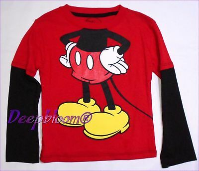 Disney Top Tee Shirt Boys - Mickey Mouse Long Sleeve - Sz 3T Red Black New