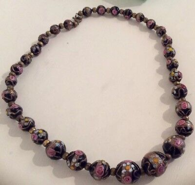 Vintage Art Deco Venetian Murano Glass Wedding Cake Bead Necklace 17 Inches