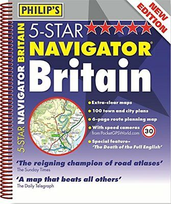 (Very Good)1849073155 Philip's 5-Star Navigator Britain: Spiral (Road Atlas),Phi