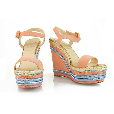 a752036d8074 NEW CHRISTIAN LOUBOUTIN Salmon Blue Suede Marina Liege Espadrille 140  Wedges 40