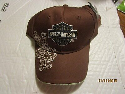 Harley-Davidson Womens Brown Cap with Crystal Stones
