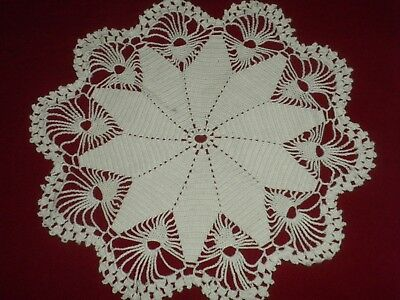 VINTAGE White  COTTON HANDMADE  CROCHET LACE Doily**code:n601*